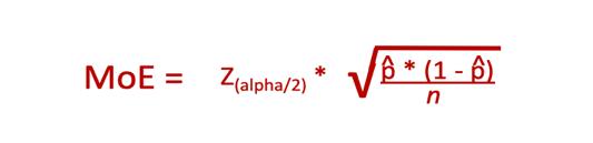 Margin of error voor betrouwbaarheidsinterval, formule