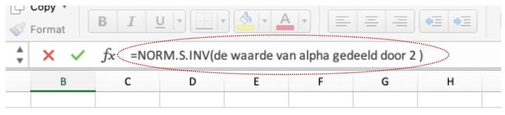 Excel gebruiken op Z values te vinden. NORM.S.INV(alpha/2)